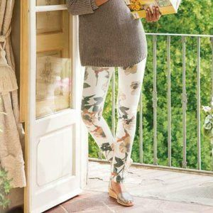 Soft Surroundings Floral Print Jeans White Flower